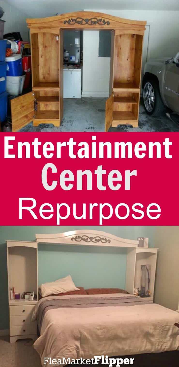How to repurpose an old entertainment center into bedside storage