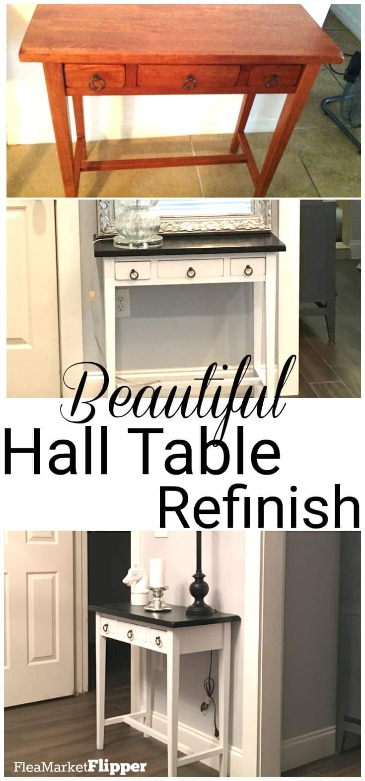 Beautiful hall table refinish. Wonderful color and stain on this #furnitureflip.