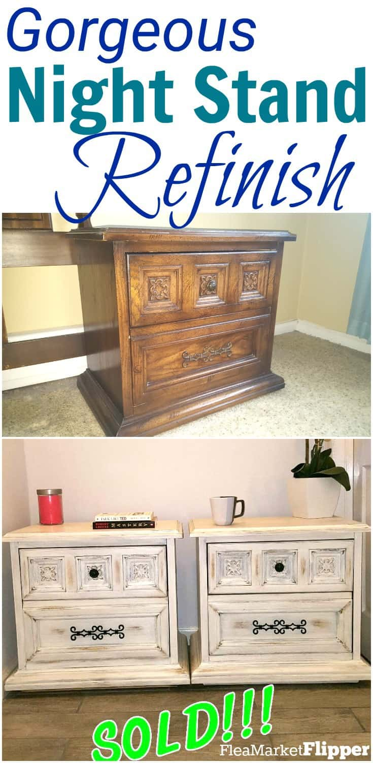 Check out these gorgeous bedside tables that were redone to have the white distressed furniture look. These pieces were one of the winners of our furniture flipping contest! #furnitureflip #flippingforprofit #fleamarketflip #bedsidettables #nightstands #whitefurniture #distressedfurniture #furniturepainting #upcycle #redo #repurpose #diy #thrift