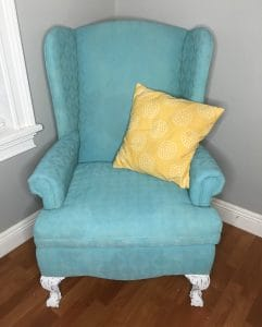 spray painted fabric chair
