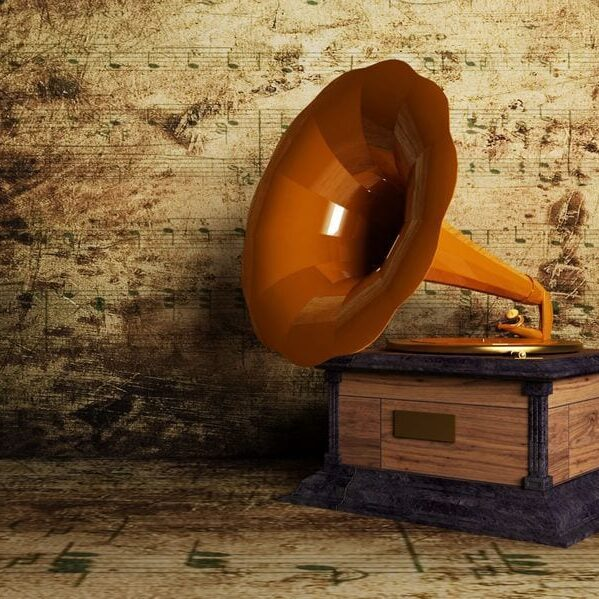 12867522 - beautiful old gramophone on the interesting background, rendering