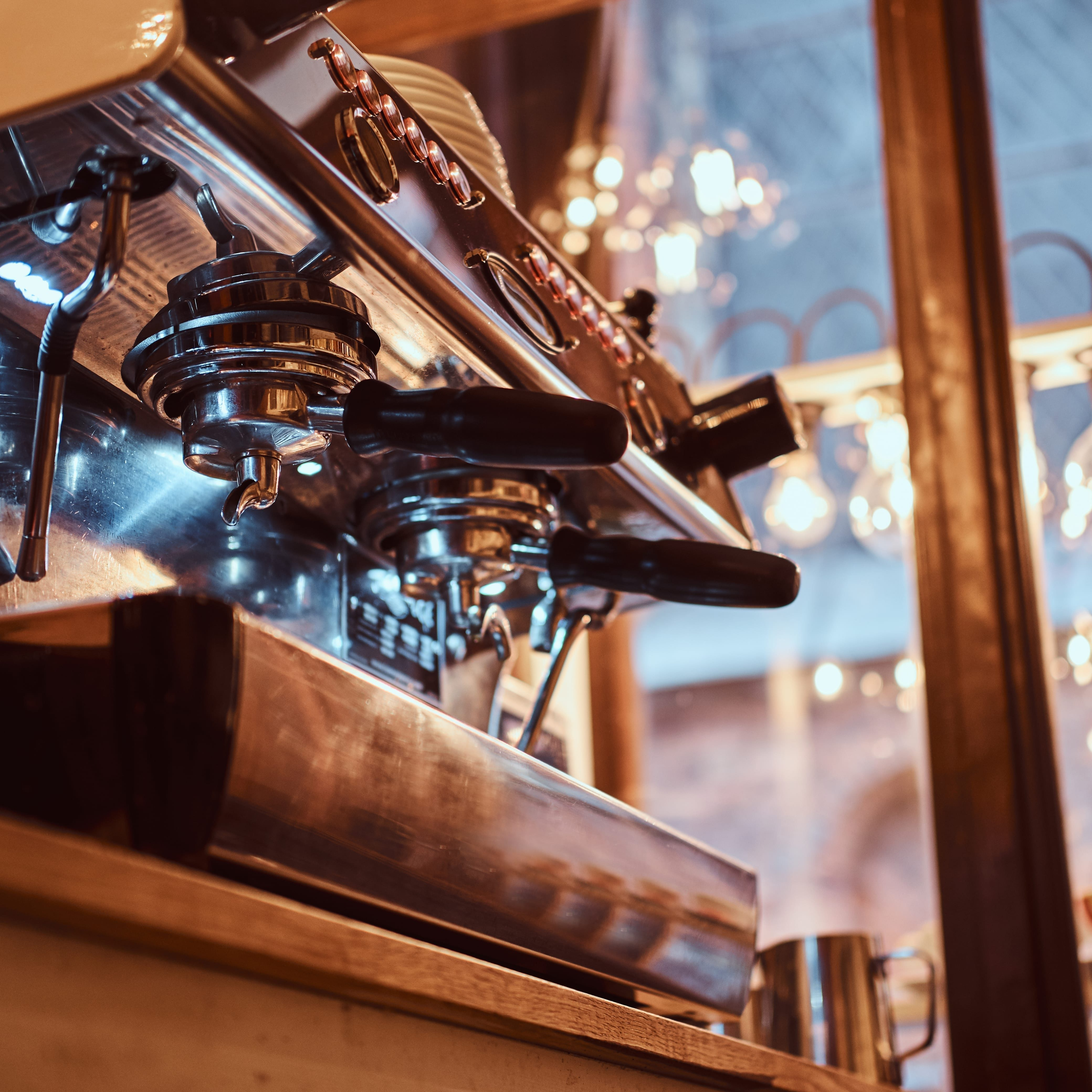 Close-up of the coffee machine in the restaurant or cafe shop
