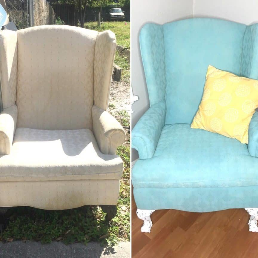 How to Spray Paint a Fabric Chair with Chalk Paint